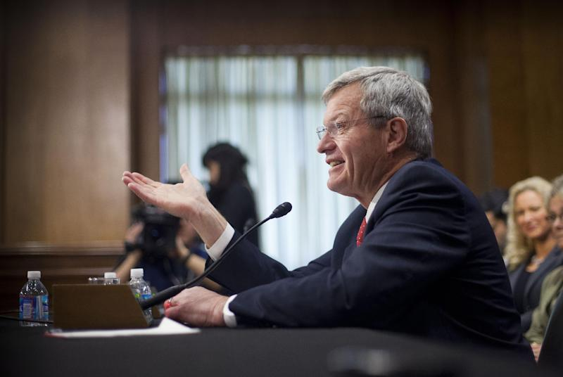 Retiring Montana Sen. Max Baucus testifies on Capitol Hill in Washington, Tuesday, Jan. 28, 2014, before the Senate Foreign Relations Committee hearing on his nomination to become US ambassador to China. Tuesday's hearing by the Senate Foreign Relations Committee was a switch for the six-term Democrat from Montana. As chairman of the Senate Finance Committee, Baucus is used to vetting nominees. On Tuesday he will be answering questions. (AP Photo/Pablo Martinez Monsivais)