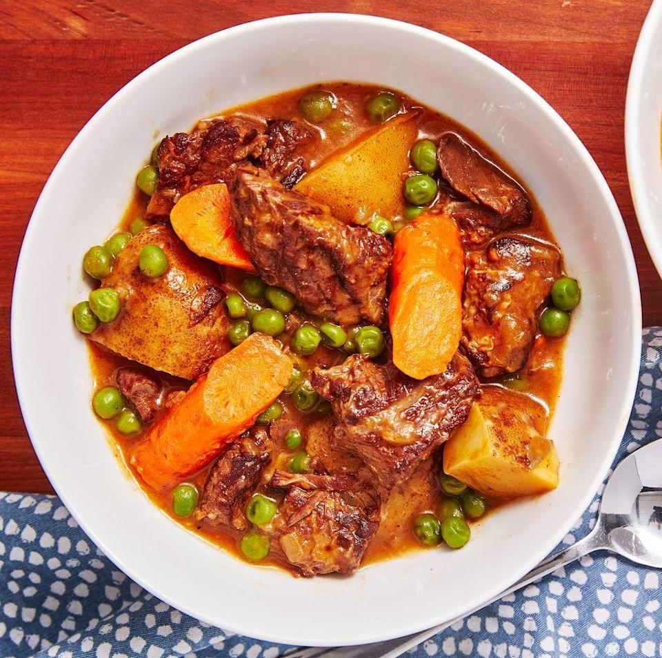 """<p>There's no need to wait for a large piece of stew meat to tenderise for hours when your Instant Pot can do it in 25 minutes. This is a warm, comforting bowl of hearty <a href=""""https://www.delish.com/uk/cooking/recipes/g28844124/slow-cooker-beef-stew/"""" rel=""""nofollow noopener"""" target=""""_blank"""" data-ylk=""""slk:beef stew"""" class=""""link rapid-noclick-resp"""">beef stew</a> with very little effort and in a fraction of the time. It's exactly what you need an a cold winter's night!</p><p>Get the <a href=""""https://www.delish.com/uk/cooking/recipes/a31110477/instant-pot-beef-stew-recipe/"""" rel=""""nofollow noopener"""" target=""""_blank"""" data-ylk=""""slk:Instant Pot Beef Stew"""" class=""""link rapid-noclick-resp"""">Instant Pot Beef Stew</a> recipe.</p>"""