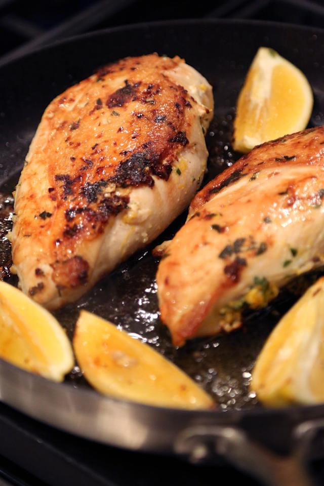 """<p>While <a href=""""http://www.popsugar.com/food/Boneless-Skinless-Chicken-Breast-Recipes-36951106/"""" class=""""ga-track"""" data-ga-category=""""Related"""" data-ga-label=""""http://www.popsugar.com/food/Boneless-Skinless-Chicken-Breast-Recipes-36951106/"""" data-ga-action=""""In-Line Links"""">boneless, skinless chicken breasts</a> are a common weeknight staple because of their convenience, they're not the best option when it comes to flavor. Try bone-in, skin-on chicken breasts next time, and you'll benefit from a much more moist and tasty bite of chicken, even if you have to cut around the bone.  </p> <p><strong>Recipe featured:</strong> <a href=""""https://www.popsugar.com/food/Chrissy-Teigen-Brick-Chicken-Recipe-40291885"""" class=""""ga-track"""" data-ga-category=""""Related"""" data-ga-label=""""http://www.popsugar.com/food/Chrissy-Teigen-Brick-Chicken-Recipe-40291885"""" data-ga-action=""""In-Line Links"""">Chrissy Teigen's brick chicken</a></p>"""