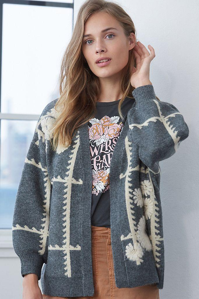 """<h2>Catherine Floral Shine Cardigan</h2><br>""""I'm a snob when it comes to sweaters,"""" wrote one Anthropologie customer of this one-size-fits-all cardigan. """"I want something unique and pretty that flatters. This one hit the mark! So soft, and even though I still harbor COVID weight gain, I feel oh-so-lovely in this sweater.""""<h2><br></h2><br><br><br><strong>Anthropologie</strong> Catherine Floral Shine Cardigan, $, available at <a href=""""https://go.skimresources.com/?id=30283X879131&url=https%3A%2F%2Fwww.anthropologie.com%2Fshop%2Fcatherine-floral-shine-cardigan%3Fcategory%3Dtops-sweaters%26color%3D004%26type%3DSTANDARD%26size%3DOne%2520Size%26quantity%3D1"""" rel=""""nofollow noopener"""" target=""""_blank"""" data-ylk=""""slk:Anthropologie"""" class=""""link rapid-noclick-resp"""">Anthropologie</a>"""