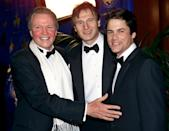 Actors Jon Voight, left, Liam Neeson, center, and Rob Lowe pose for photographers at the the Carousel of Hope, a star-studded charity gala benefitting childhood diabetes held in Beverly Hills, Calif., Saturday night, Oct. 28, 2000. (AP Photo/Kevork Djansezian)