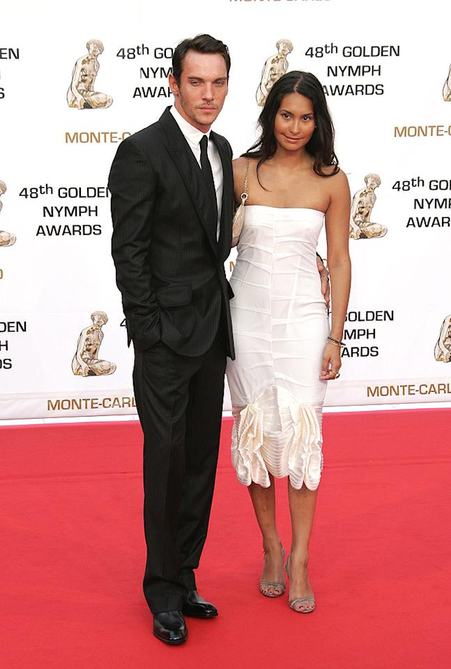 """Jonathan Rhys Meyer and his girlfriend Reena Hammer arrive for the Golden Nymph Awards during the 2008 Monte Carlo Television Film Fest in Monaco. The star of """"The Tudors"""" won the prize for Outstanding Actor in a TV Drama. Tony Barson/<a href=""""http://www.wireimage.com"""" target=""""new"""">WireImage.com</a> - June 12, 2008"""