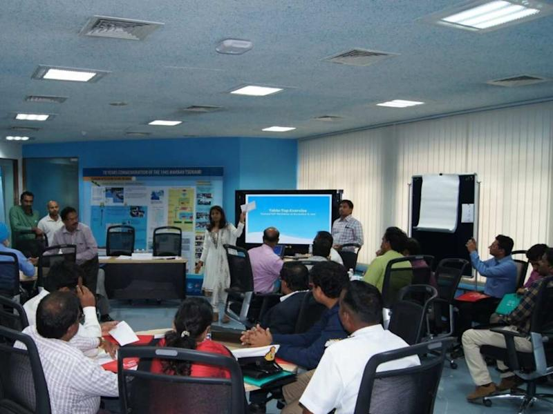 A tsunami warning system workshop for INCOIS members. Image: RPB Network