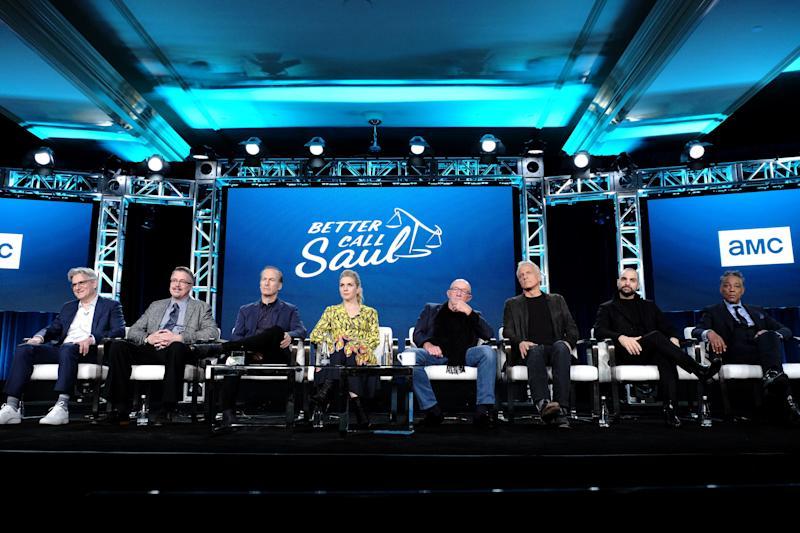 AMC's 'Better Call Saul' contingent came out in force at the Television Critics Association Thursday. Executive producers Peter Gould, left, and Vince Gilligan joined stars Bob Odenkirk, Rhea Seehorn, Jonathan Banks, Patrick Fabian, Michael Mando and Giancarlo Esposito for a lively panel before the Season 5 premiere in February.