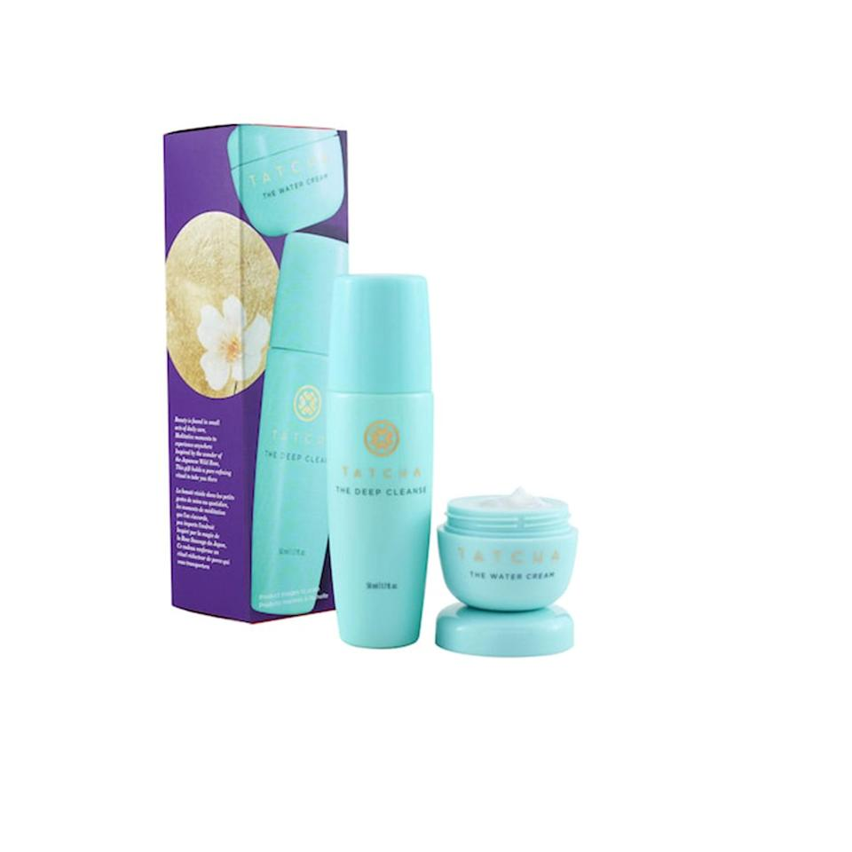 """<p>Another name for the Tatcha Balanced Skin Duo could be Award-Winning Duo For Oily Skin. It doesn't roll off the tongue as well, but it gets to the point. <a href=""""https://www.allure.com/review/tatcha-the-deep-cleanse-gel-cleanser?mbid=synd_yahoo_rss"""" rel=""""nofollow noopener"""" target=""""_blank"""" data-ylk=""""slk:Allure editors"""" class=""""link rapid-noclick-resp""""><em>Allure</em> editors</a> swear by The Deep Cleanse Exfoliating Cleanser, a Best of Beauty Award winner, for decreasing sebum production while clearing pores of gunk. We're also fans of <a href=""""https://www.allure.com/review/tatcha-the-water-cream?mbid=synd_yahoo_rss"""" rel=""""nofollow noopener"""" target=""""_blank"""" data-ylk=""""slk:The Water Cream"""" class=""""link rapid-noclick-resp"""">The Water Cream</a>'s weightless texture. (It also won a Reader's Choice Award last year.) </p> <p><strong>$25 (</strong><a href=""""https://www.sephora.com/product/tatcha-balanced-skin-duo-P461536"""" rel=""""nofollow noopener"""" target=""""_blank"""" data-ylk=""""slk:Shop Now"""" class=""""link rapid-noclick-resp""""><strong>Shop Now</strong></a><strong>)</strong> </p>"""