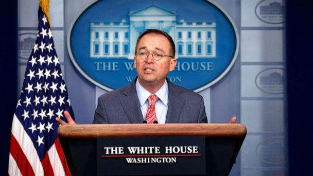 PHOTO: White House chief of staff Mick Mulvaney announces that the G7 will be held at Trump National Doral, Oct. 17, 2019, in Washington D.C. (Evan Vucci/AP)