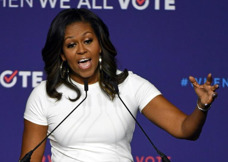 "Former first lady Michelle Obama -- shown here at a ""get out the vote"" rally in Las Vegas ahead of the November 2018 midterm elections -- is releasing her book ""Becoming"" on November 13"