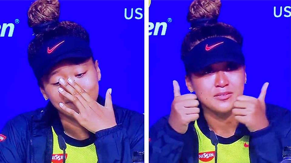 Naomi Osaka (pictured) broke down during her US Open press conference.