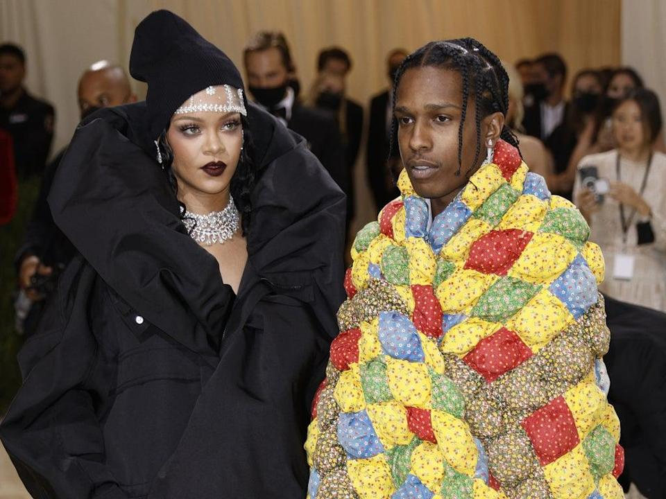 Rihanna and A$AP Rocky on the Met Gala 2021 red carpet (EPA-EFE)