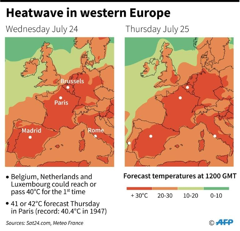 Forecast temperatures in western Europe at 1200 GMT Wednesday July 24 and Thursday July 25 (AFP Photo/)
