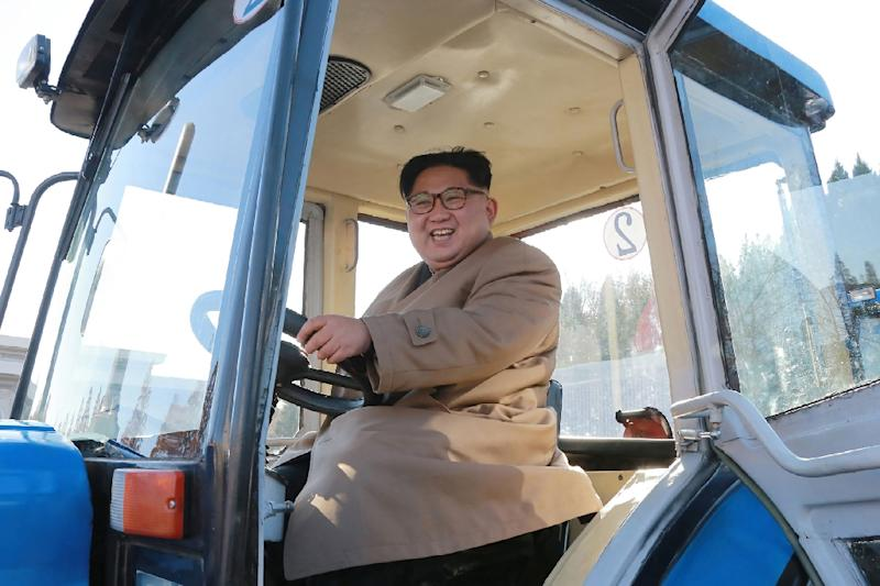 North Korean leader Kim Jong-Un inspects the Kumsong Tractor Factory in Nampo City (AFP Photo/)