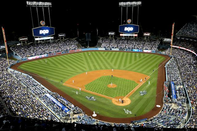 A general view of Dodger Stadium during the NLDS between the Washington Nationals and the Los Angeles Dodgers in October. (Rob Leiter/MLB Photos/Getty Images)