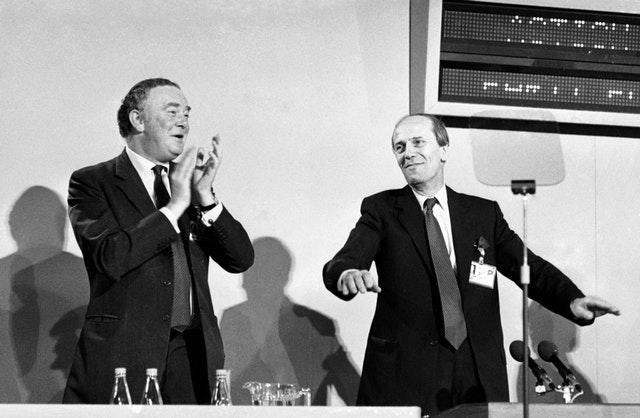 Then Tory party chairman Norman Tebbit (right) with Peter Morrison