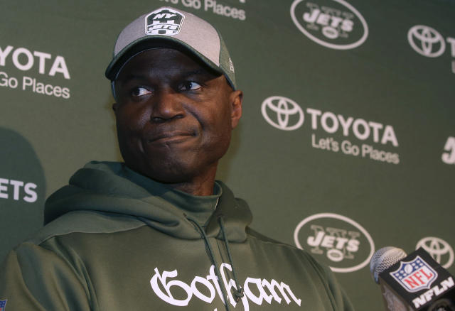 New York Jets head coach Todd Bowles speaks to the media following an NFL football game against the New England Patriots, Sunday, Dec. 30, 2018, in Foxborough, Mass. The team announced Sunday night that Bowles had been fired. (AP Photo/Steven Senne)