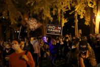 People celebrate gains made by Democratic U.S. presidential nominee Biden and support continued counting of ballots in 2020 U.S. presidential election in Brooklyn borough of New York City