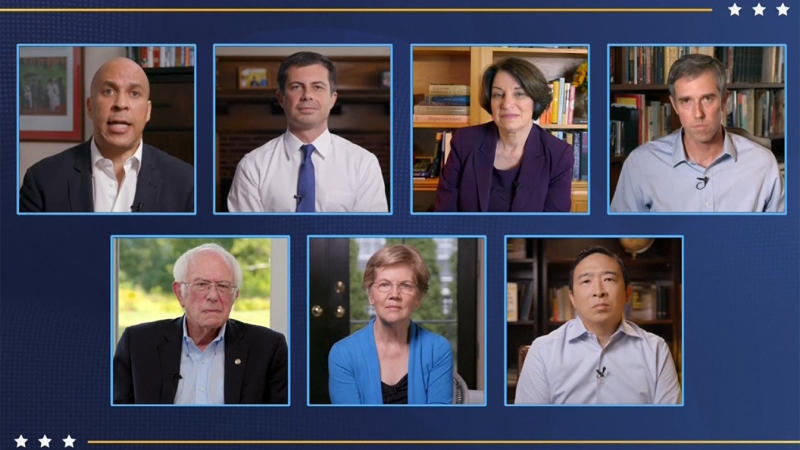 Sen. Cory Booker, former Mayor Pete Buttigieg, Sen. Amy Klobuchar, former Rep. Beto O'Rourke, (bottom): Sen. Bernie Sanders, Sen. Elizabeth Warren and Andrew Yang speak during the virtual Democratic National Convention on August 20, 2020. (via Reuters TV)