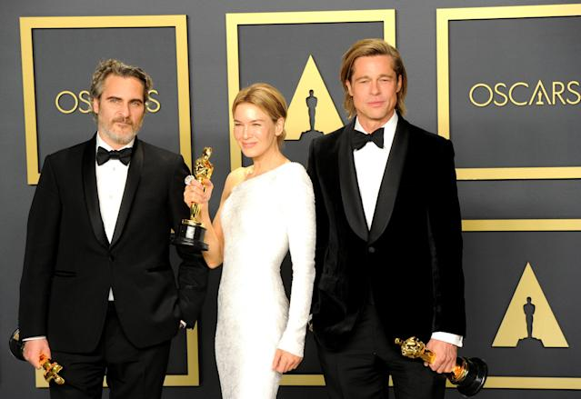 Joaquin Phoenix, Renée Zellweger and Brad Pitt at the 92nd annual Academy Awards held at Hollywood and Highland on Feb. 9, 2020 in Hollywood, Calif. (Photo: Albert L. Ortega/Getty Images)