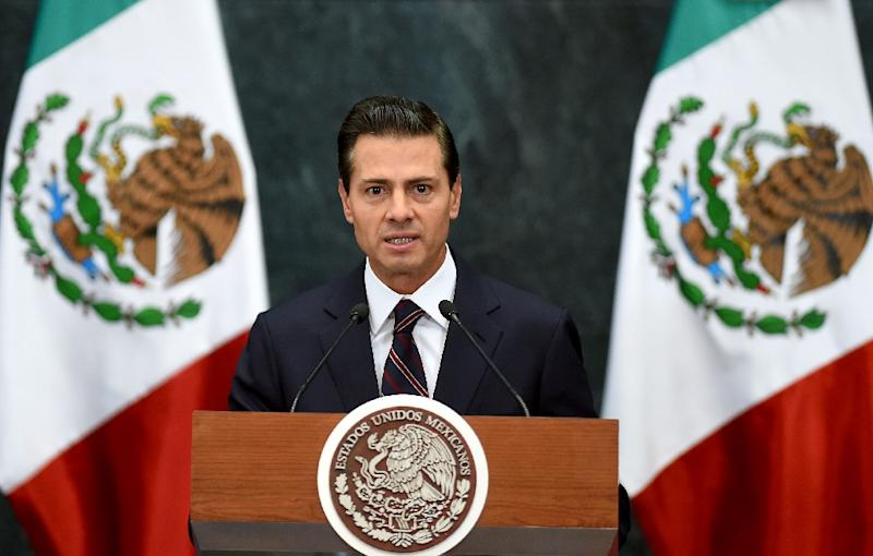 """The office of Mexican President Enrique Pena Nieto, seen January 4, 2017, said he and US President Donald Trump agreed to open a """"new dialogue"""""""