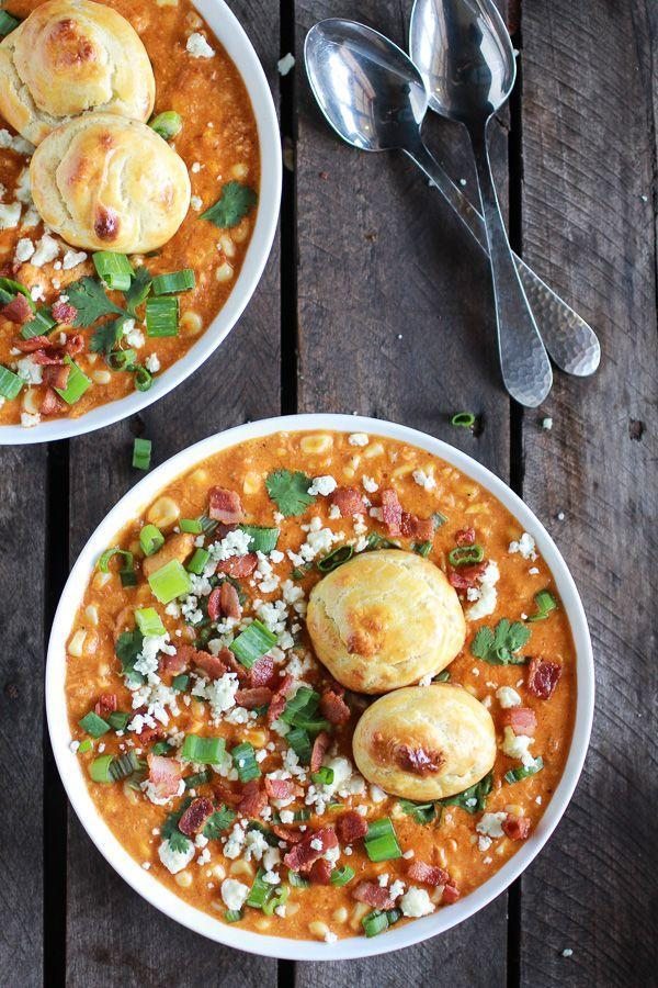 """<p>Throw some cheesy gougères on top for dipping. </p><p><a href=""""http://www.halfbakedharvest.com/buffalo-chicken-corn-chowder-with-blue-cheese-gougeres/"""" rel=""""nofollow noopener"""" target=""""_blank"""" data-ylk=""""slk:Get the recipe from Half Baked Harvest »"""" class=""""link rapid-noclick-resp""""><em>Get the recipe from Half Baked Harvest »</em></a><br></p>"""