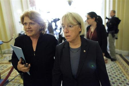 Murray walks to a Senate Democratic caucus luncheon at the U.S. Capitol in Washington