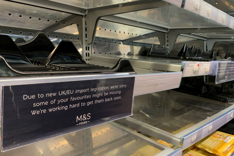 Empty shelves at a Marks and Spencer food store in Paris