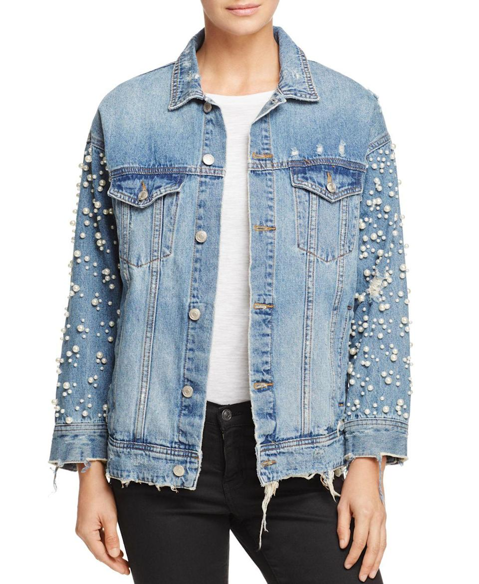 """<p><strong>Sunset & Spring</strong></p><p>bloomingdales.com</p><p><strong>$128.00</strong></p><p><a href=""""https://go.redirectingat.com?id=74968X1596630&url=https%3A%2F%2Fwww.bloomingdales.com%2Fshop%2Fproduct%2Fsunset-spring-embellished-denim-jacket-100-exclusive%3FID%3D4077611&sref=https%3A%2F%2Fwww.prevention.com%2Fbeauty%2Fstyle%2Fg37148346%2Fbest-jean-jackets-for-women%2F"""" rel=""""nofollow noopener"""" target=""""_blank"""" data-ylk=""""slk:Shop Now"""" class=""""link rapid-noclick-resp"""">Shop Now</a></p><p>If you're looking for an option that has a little bit more glam to it, you'll love this <strong>pearl embellished denim jacket</strong>. Inspired by '80s glamour, it comes in two colors (denim and black), has an oversized fit, distressed detailing, and a frayed hem. Try wearing it off the shoulders for the ultimate fashionista look. </p>"""