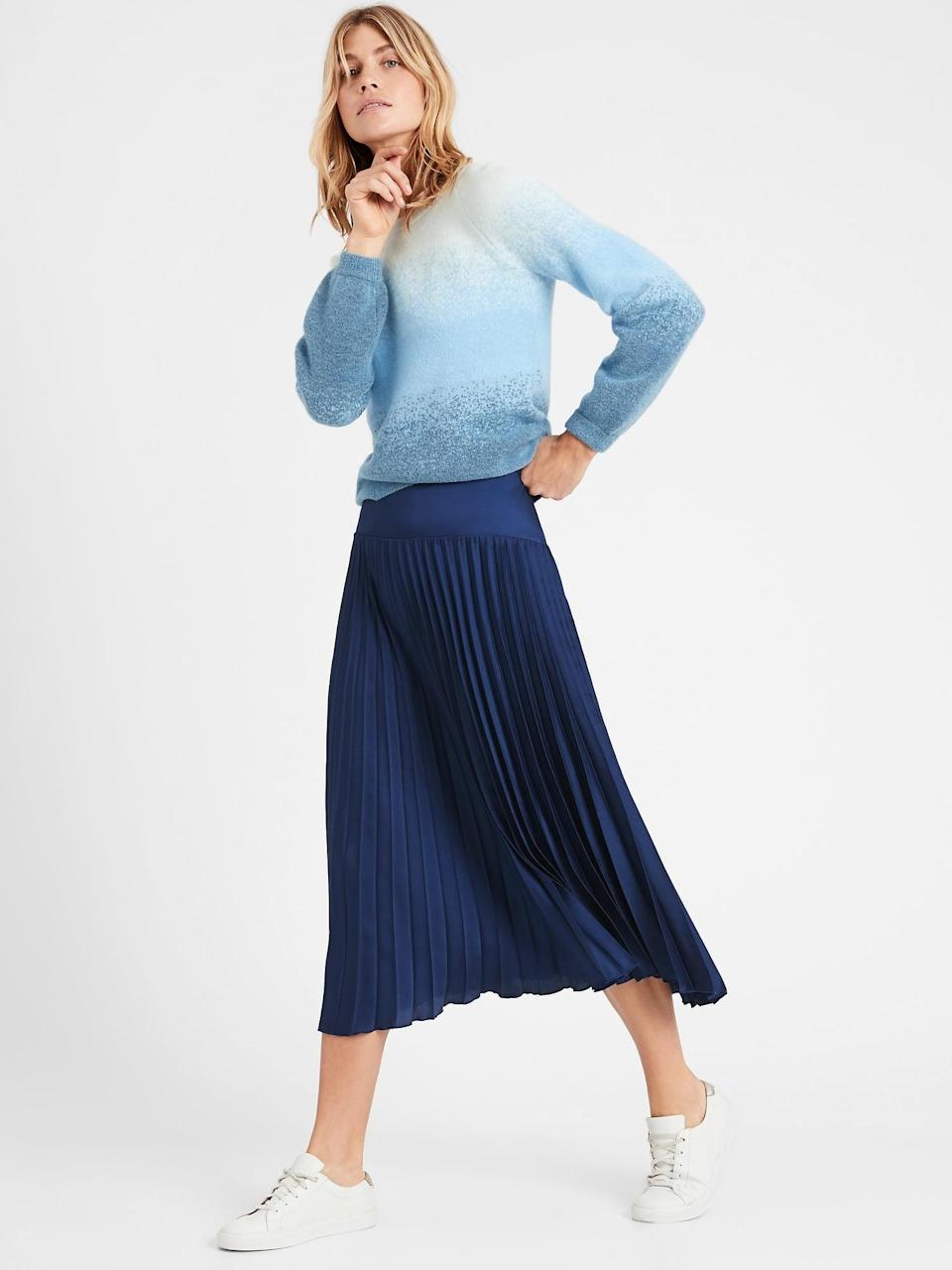 <p>We want to wear this <span>Pleated Midi Skirt</span> ($90, originally $129) daily.</p>