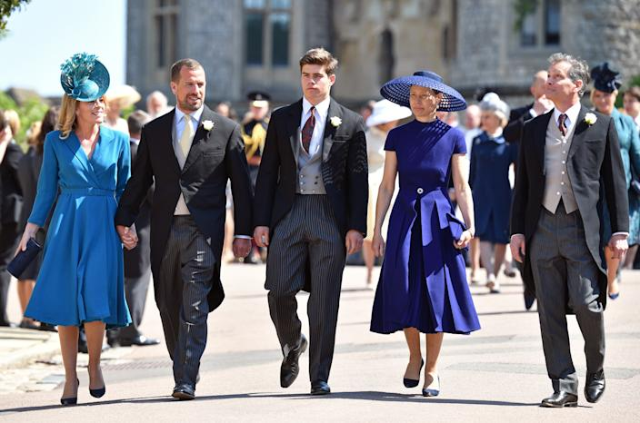 WINDSOR, UNITED KINGDOM - MAY 19: (EMBARGOED FOR PUBLICATION IN UK NEWSPAPERS UNTIL 24 HOURS AFTER CREATE DATE AND TIME) Autumn Phillips, Peter Phillips, Arthur Chatto, Lady Sarah Chatto and Daniel Chatto attend the wedding of Prince Harry to Ms Meghan Markle at St George's Chapel, Windsor Castle on May 19, 2018 in Windsor, England. Prince Henry Charles Albert David of Wales marries Ms. Meghan Markle in a service at St George's Chapel inside the grounds of Windsor Castle. Among the guests were 2200 members of the public, the royal family and Ms. Markle's Mother Doria Ragland. (Photo by Pool/Max Mumby/Getty Images)