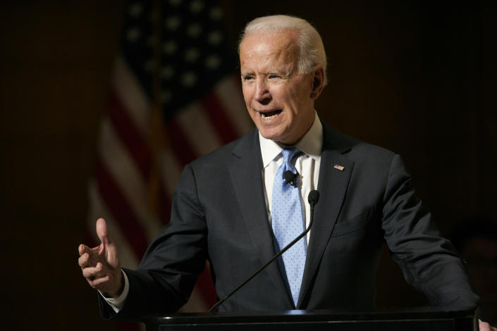 Former Vice President Joe Biden speaks at the Chuck Hagel Forum in Global Leadership on Feb. 28. (Photo: Nati Harnik/AP)