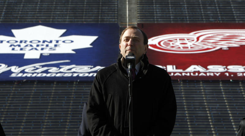 FILE -  In this Feb. 9, 2012 file photo, National Hockey League commissioner Gary Bettman announces the NHL Winter Classic hockey game at Michigan Stadium in Ann Arbor, Mich. The NHL has canceled the 2013 Winter Classic at Michigan Stadium. The signature event between the Detroit Red Wings and Toronto Maple Leafs, is the latest casualty from the labor dispute that has put the season on hold, a person familiar with the situation told The Associated Press on Friday, Nov. 2, 2012. (AP Photo/Paul Sancya, File)
