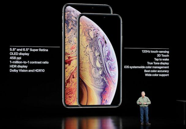 PHOTO: Phil Schiller, Apple's senior vice president of worldwide marketing, speaks about the Apple iPhone XS and Apple iPhone XS Max at the Steve Jobs Theater during an event to announce new Apple products Wednesday, Sept. 12, 2018, in Cupertino, Calif. (Marcio Jose Sanchez/AP)