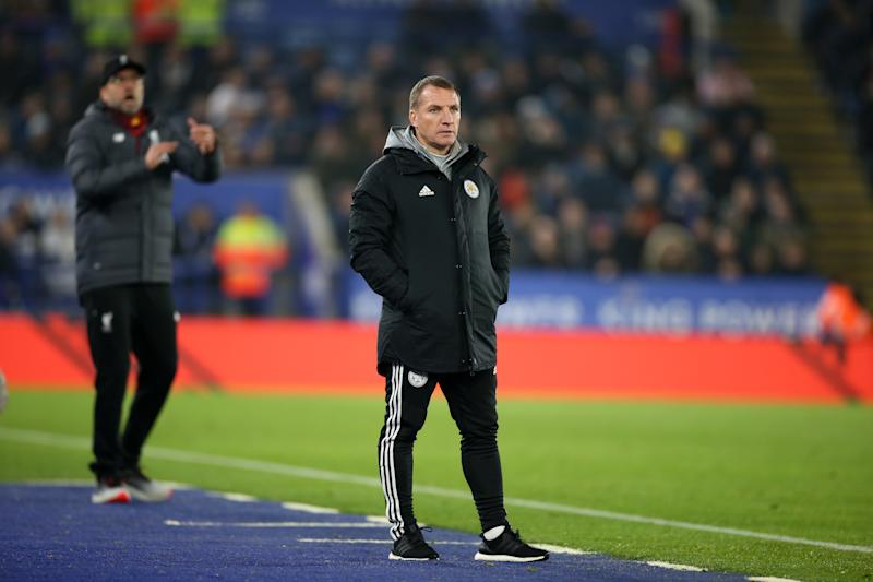 LEICESTER, ENGLAND - DECEMBER 26 : Leicester City Manager Brendan Rodgers during the Premier League match between Leicester City and Liverpool FC at The King Power Stadium on December 26th 2019 in Leicester, United Kingdom (Photo by Plumb Images/Leicester City via Getty Images)