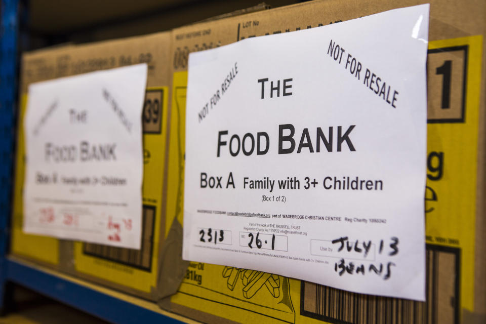 Trussell Trust Food Bank box for a family with three children waiting for distribution in the Wadebridge foodbank, North Cornwall, England, United Kingdom. The box has been prepared by volunteers and contains non-perishable food items. (Photo by In Pictures Ltd./Corbis via Getty Images)