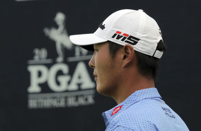 Danny Lee, of New Zealand, waits to putt on the 13th green during the first round of the PGA Championship golf tournament, Thursday, May 16, 2019, at Bethpage Black in Farmingdale, N.Y. (AP Photo/Charles Krupa)