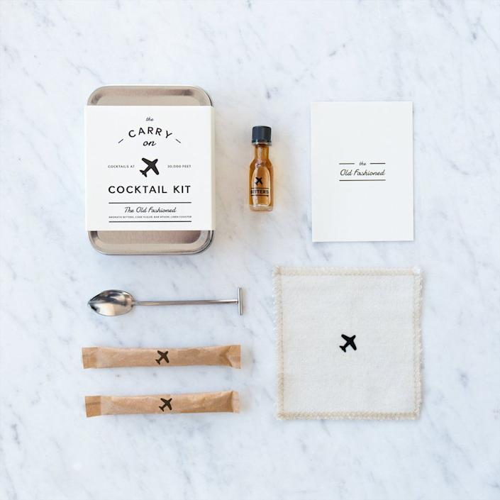 "This kit includes a carry in, recipe card, muddler spoon, aromatic bitters, and cane sugar. <strong><a href=""https://www.amazon.com/Carry-Cocktail-Kit-Old-Fashioned/dp/B00PSTH5VK"" rel=""nofollow noopener"" target=""_blank"" data-ylk=""slk:Get it here"" class=""link rapid-noclick-resp"">Get it here</a></strong> ."