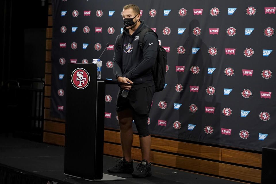 San Francisco 49ers defensive end Nick Bosa speaks during a news conference at NFL football training camp in Santa Clara, Calif., Thursday, July 29, 2021. (AP Photo/Jeff Chiu)