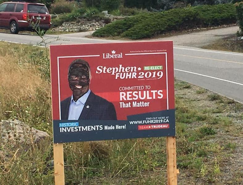 'Really sad:' B.C. Liberal candidate's campaign sign vandalized with blackface