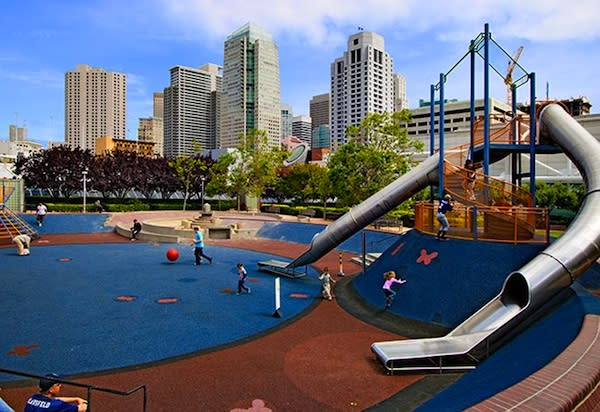 "<div class=""caption-credit""> Photo by: Yerba Buena Gardens</div><div class=""caption-title"">Yerba Buena Playground, San Francisco</div>This playground is built on the rooftop of the Moscone Convention Center in downtown San Francisco. It features a 25-foot slide that whooshes kids to a spongy rubber play pit."