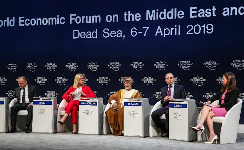 """Oman's minister of foreign affairs Yusuf bin Alawi bin Abdullah (C) caused a stir in Jordan when he told a panel that Arabs must help ease Israel's """"fears for its future'"""