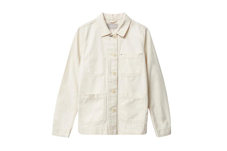 "$78, Everlane. <a href=""https://www.everlane.com/products/womens-canvas-chore-jacket-canvas?collection=womens-outerwear"" rel=""nofollow noopener"" target=""_blank"" data-ylk=""slk:Get it now!"" class=""link rapid-noclick-resp"">Get it now!</a>"