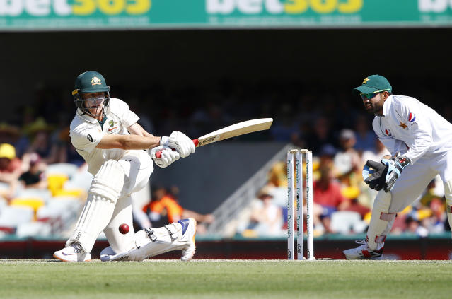 Australia's Marnus Labuschagne plays a shot during their cricket test match against Pakistan in Brisbane, Australia, Saturday, Nov. 23, 2019. (AP Photo/Tertius Pickard)