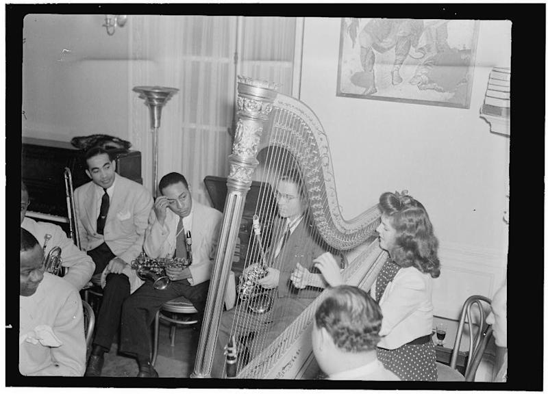 This publicly distributed handout photo made available by the Library Congress shows from left, Lawrence Brown, Johnny Hodges, and Adele Girard, performing at the Turkish Embassy in Washington, in the 1930s. Pianist Herbie Hancock is looking forward to paying tribute to the special connection between Turkey and jazz music forged decades ago when the Turkish ambassador opened his residence for white and black musicians to jam together at a time when segregation held sway in the U.S. capital. (AP Photo/The Library of Congress, William P. Gottlieb)