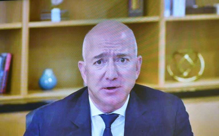 Amazon CEO Jeff Bezos, seen at the US antitrust hearing this week, said he was proud of the quarterly result of the company which saw gains in grocery, video and cloud computing