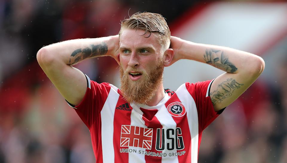 Sheffield United's Oliver McBurnie reacts during the Premier League match at Bramall Lane, Sheffield. (Photo by Richard Sellers/PA Images via Getty Images)