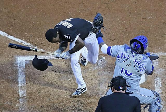 Tim Anderson recovered from a scary pitch to the head to knock in the game-winning RBI against the Royals. (Getty)