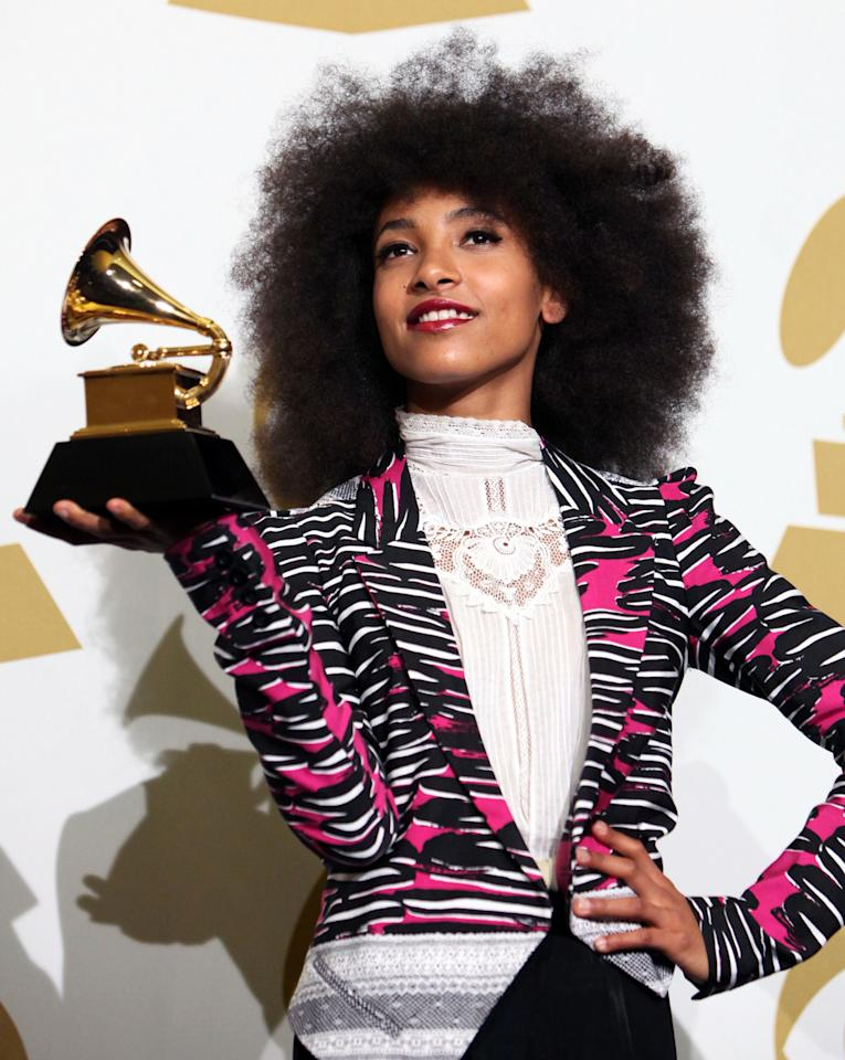 Musician Esperanza Spalding poses in the press room at The 53rd Annual GRAMMY Awards held at Staples Center on February 13, 2011 in Los Angeles, California. (Photo by Michael Tran/FilmMagic)