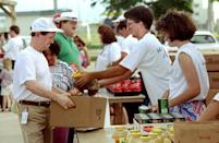"<p>After Category-5 storm Hurricane Andrew destroyed parts of the Bahamas, Florida and Louisiana, thousands of families were left without homes. During the holidays, volunteers handed out canned goods<span class=""redactor-invisible-space""> and </span>take-home Thanksgiving meals to victims in the area. Talk about the reason for the season. </p>"