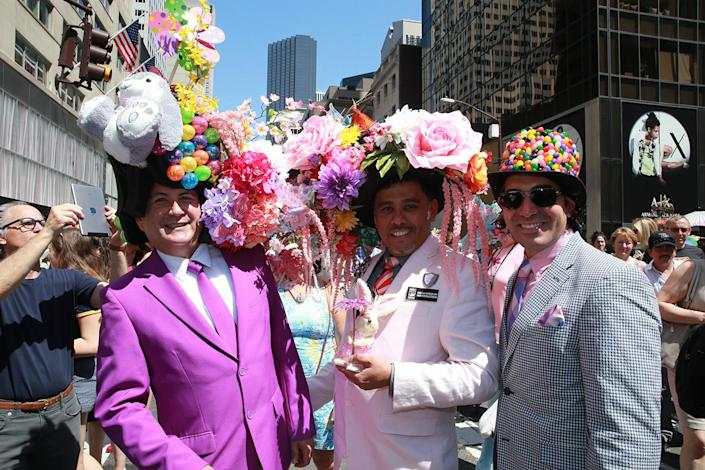 <p>People attend the annual Easter Parade and Easter Bonnet Festival on the Fifth Avenue in New York on April 16, 2017. (Photo: Gordon Donovan/Yahoo News) </p>