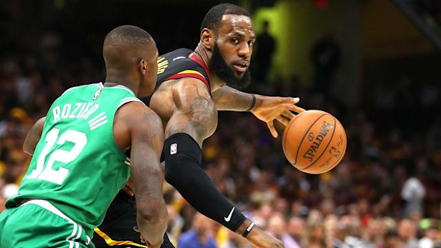 LeBron James scored 44 points to lead the Cleveland Cavaliers to a 111-102 victory over the Boston Celtics in game four on Monday.