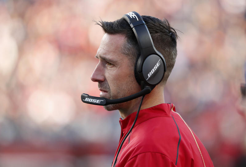 FILE - In this Dec. 23, 2018, file photo, San Francisco 49ers coach Kyle Shanahan watches during the second half of the team's NFL football game against the Chicago Bears in Santa Clara, Calif. Shanahan and general manager John Lynch are heading into their third year with the team. (AP Photo/Tony Avelar, File)